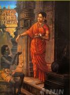 Fine art  - Lady giving Alms at the Temple by ArtistRaja Ravi Varma