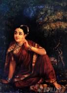 Fine art  - Radha Waiting for Krishna  by ArtistRaja Ravi Varma