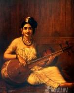 Fine art  - Lady with Veena 3 by ArtistRaja Ravi Varma