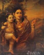 Fine art  - Krishna in the Lap of Mother Yashoda by ArtistRaja Ravi Varma