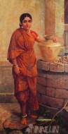 Fine art  - Mysore lady by the well by Artist Raja Ravi Varma