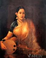 Fine art  - Lady Playing Swarbat by ArtistRaja Ravi Varma