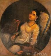 Fine art  - Lady Resting on the Pillow 2 by ArtistRaja Ravi Varma