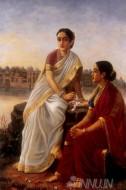 Fine art  - Radha and Sakhi 2  by ArtistRaja Ravi Varma