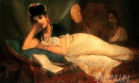 Fine art  - Reclining woman by ArtistRaja Ravi Varma