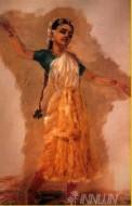 Fine art  - Bharatanatyam 2 by ArtistRaja Ravi Varma