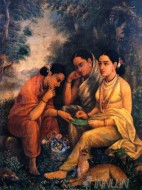 Fine art  - Shakuntala Writing Letter to Dushyanta 2 by ArtistRaja Ravi Varma