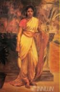 Fine art  - Lady near the Wall by ArtistRaja Ravi Varma