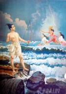 Fine art  - Sri Rama Vanquishing the Sea by ArtistRaja Ravi Varma