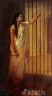 Fine art  - Imprisoned Lady Holding a Dagger by ArtistRaja Ravi Varma