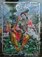 Fine art  - Radha and Krishna with calf