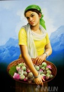 Fine art  - Lady Holding Flowers by Artist Mahendran