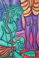 Fine art  - Ekalavya cuts off his thumb by ArtistMurali T