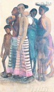 Fine art  - South Indian villagers going to market  by ArtistAmrita Sher-Gil