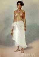 Fine art  - A Nair Lady by ArtistRao Bahadur MV Dhurandhar