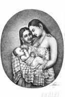 Fine art  - Mother and child pensketch by Artist Mahesh