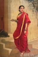 Fine art  - Lady going for pooja by ArtistRaja Ravi Varma