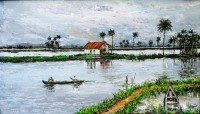 Fine art  - A village boat in backwaters by Artist Martin