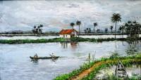 Fine art  - A village boat in backwaters by ArtistMartin