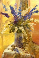Fine art  - Summer Glow Still Life With Flowers by ArtistElizabeth Parsons