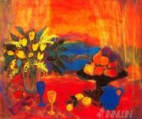 Fine art  - Red Still Life Against The Hills by ArtistAnn Oram