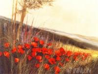 Fine art  - Field of Poppies by ArtistGilbert Michaud