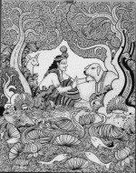 Fine art  - Krishna Playing With Calf by Artist