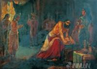 Fine art  - Krishna Pleads With Dhritarashtra to Avoid War  by ArtistRaja Ravi Varma