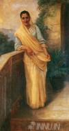 Fine art  - Woman Standing in Balcony by ArtistRaja Ravi Varma