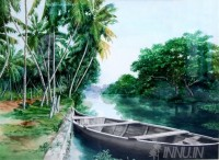 Fine art  - Anchored Boat in Lake