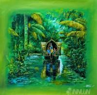 Fine art  - A House Boat in Lake