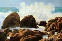 Fine art  - Waves Crashing on Rocks