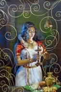 Fine art  - Kerala Lady with Nilavilakku 1