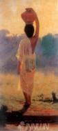 Fine art  - Village Woman Carrying Water Pot