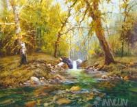 Fine art  - A Stream Over Rocks
