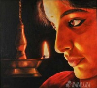 Fine art  - Lady with Lamp by Artist Suresh Dev