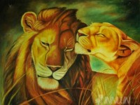Fine art  - Lion by Artist Suresh Dev