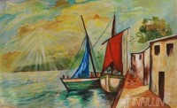 Fine art  - Boat by Artist Suresh Dev
