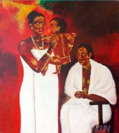 Fine art  - A Malayali of Yester Years by Artist Usha Ramachandran