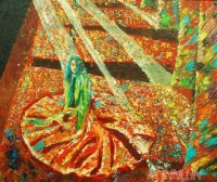 Fine art  - A  Woman Drenched in Sunlight by Artist Babitha Marina Justin