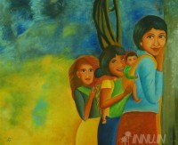 Fine art  - Girls by Artist Babitha Marina Justin