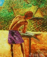 Fine art  - Fisherman at Vellayani by Artist Babitha Marina Justin