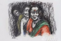 Fine art  - Three Ladies by Artist Usha Ramachandran