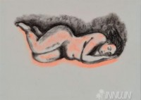 Fine art  - Sleeping Nude by Artist Usha Ramachandran