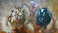 Fine art  - Bull Race by ArtistDinak Divakaran