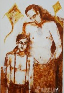 Fine art  - Father and Son by Artist Usha Ramachandran