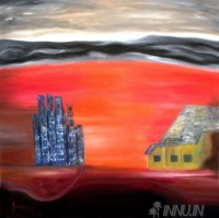 Fine art  - City in fear by Artist K Jayakumar
