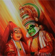 Fine art  - Kathakali 2 by Artist Satish Nair