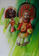 Fine art  - Poothan and Thira by Artist Satish Nair