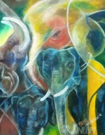 Fine art  - Divine Elephant by ArtistMoni Mulamcadu